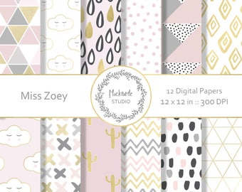 Modern Chic digital paper -  Chic clipart - Chic Clip art - Modern digital paper - Scrapbook paper - Modern Prints - Miss Zoey