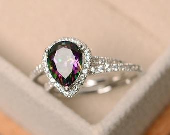 Mystic topaz ring, engagement ring, rainbow topaz ring