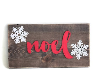 Noel Sign, Christmas Noel Sign, Snowflake Decor, Winter Wall Hanging, Red Christmas Sign, Holiday Decor, Religious Christmas Decor,