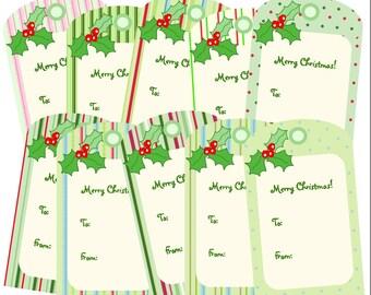 Printable Christmas Gift Tags, Printable PDF, Holly Tags, Holiday Gift Tags, Instant Download