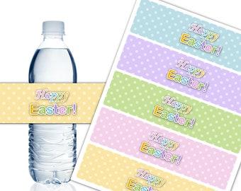 Happy Easter Water Bottle Labels, Printable Water Bottle Labels, Easter Party Decor, Egg Hunt Party, DIY - Instant Download - DP587