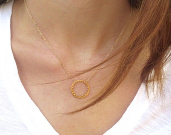Gold Circle Pendant Necklace  - Gold Necklace