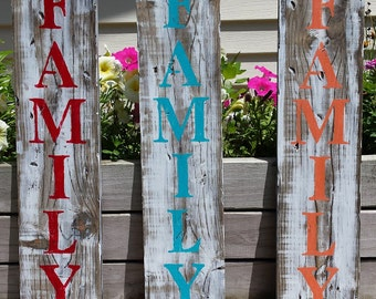 Family Wooden Sign, Wood Signs, Family, Hanging Wooden Sign, Family Sign, Rustic Family Sign, Peach Red or Teal Family Sign, Home Decor