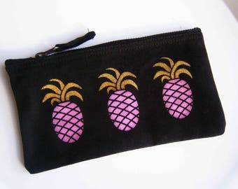 Pink & gold pineapple multi-use accessory case