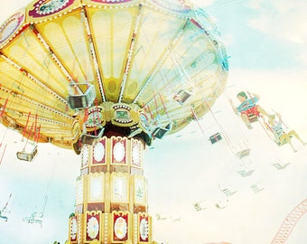 Ride the Sky Nostalgic Boardwalk Print // Oversize Pastel Art // Extra Large Photography // Pastel Prints // Golden Sunshine & Carnival Ride