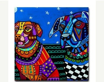 SALE NOW- Labrador Retriever art Tile Ceramic Coaster  Folk Art Print of painting by Heather Galler dog  (HG553)