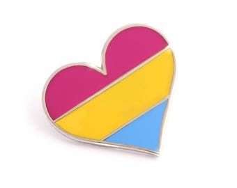 Pansexual pride pin, gay lapel pin, pansexual flag pin, heart enamel pin, gay decoration, LGBT community