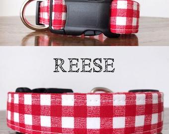 Reese - Red Plaid Handmade Collar