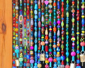 Beaded curtain, Bead Curtain,  Bohemian Curtain, Window curtain, Beaded Door Curtains, Hanging Door Beads, beaded wall hanging, Door beads,