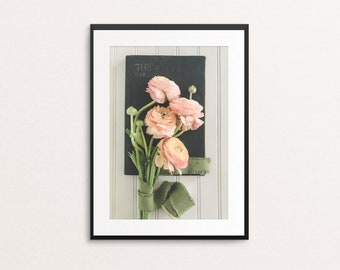 Bouquet and Book Print, Photography Print, Flower Bouquet Print, Wall Decor