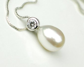 Pearl Pendant Necklace | White Freshwater Drop Pearl | CZ | Sterling Silver Box Chain Necklace | Bridal Jewelry | Birthday | Ready to Ship