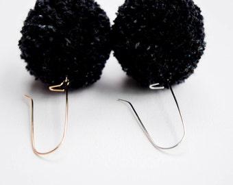 Black Pom Earrings