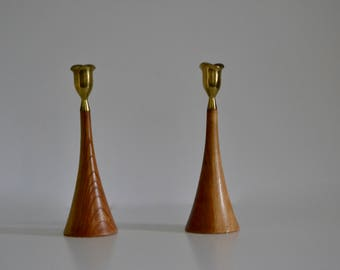 Pair of Vintage Teak Candlesticks
