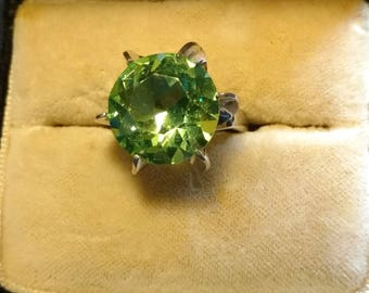 Peridot Colored stone Ring set in Sterling