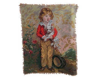 Vintage canvas, cross stitch, small boy and dog