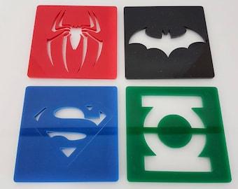 Acrylic comic logo coasters