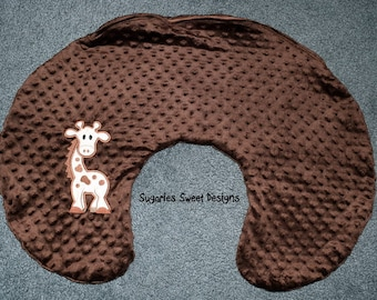 Chocolate Brown Minky Half Round Nursing Pillow Cover with Applique Giraffe also Blue with Life Ring and Anchor