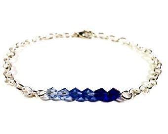 """Blue Ombre Bracelet, Beaded Bar Bracelet, Blue Crystal Bracelet, Beadwork Bracelet, Women's Jewelry, Chain Bracelet, Simple, Dainty, 7"""""""