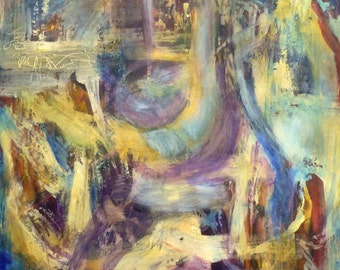 Abstract Expressionist Acrylic Queen Painting on Masonite Board Zuelsdorf yellows SALE
