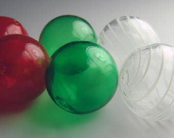 Holiday set of 6 Red, Green and White striped 28mm Hollow blown glass beads