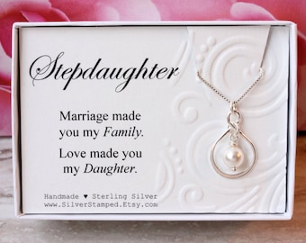 Gift for Stepdaughter Gift Sterling silver infinity necklace with Swarovski pearl, birthday gift from stepmom or stepdad for step daughter