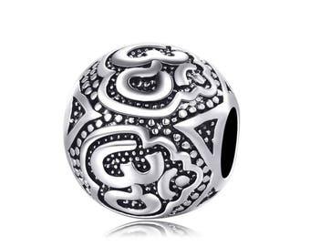 OM Charm - Ohm Charm - Ohm Symbol Charm - Yoga Charm - Beautiful Silver Plated Om Charm fits all Charm Bracelets - Christmas Gifts for Her