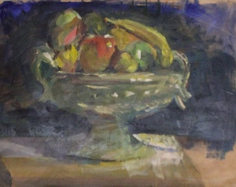 Still Life Fruit in Bowl Original Oil Painting Jill Opelka Representational Traditional Original Artwork Footed Bowl Apple Banana Pear