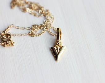 Gold Arrowhead Necklace, Arrowhead Necklace, Gold Charm Necklace, Charm Necklace, Arrowhead, Gold Fill Necklace, Gold Filled Necklace