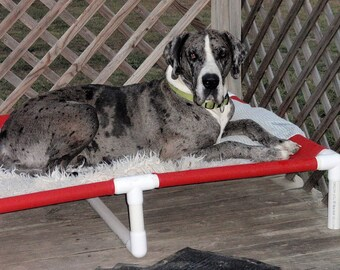 Extra Large Dog Bed 38x55 Large Bed, Dog Bed Cot, Raised Beds With Middle Support, 11 Mesh Colors, 15 Canvas Colors, Dogs Up To 160 Pounds