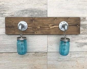 Blue Mason Jar Light, Galvanized Pipe, Brushed Nickel, Vanity Light, Bathroom Fixture, Wall Light, Lighting, Pendant Light Rustic Industrial