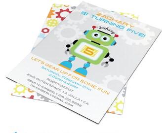 Robot Invitation | Robots | Robot Invite | Robot Birthday | Robot Birthday Party | Custom Printable