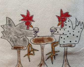 Hand Painted Tea Towel, Hens Drinking Wine