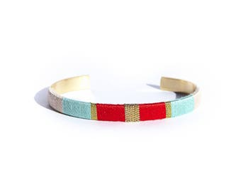 LUCIEN - red, turquoise, beige and gold Bangle Bracelet