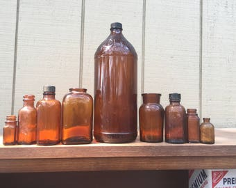 Instant Collection- 9 antique glass amber brown Apothecary bottles