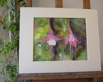 original Watercolour: pink Fushias