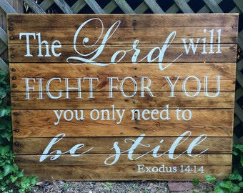 Wood Sign, Scripture Wood Art, Reclaimed Wood Sign, Stained Wood Sign Depicting Exodus 14, Scripture Art, Be Still, Be Still and Know