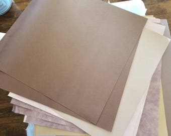 Set of 14 papers in shades of brown - great for scrapbooking, mixed media, cards, etc.