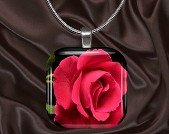 Deep Pink Rose Glass Tile Pendant with chain(CusFl3.3)