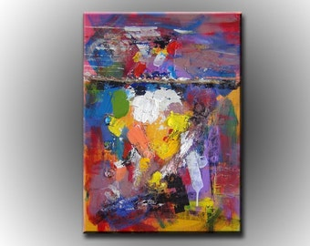 George Miller Abstract Painting  Colorful Dream Acrylic Canvas Art  Nice Expressionism Modern Fine Art  24x35 Stretched Ready to Hang