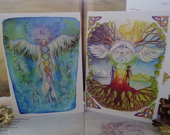A5 Art Cards, Pack of 2, Pagan Cards, Rainbow Chakra, World Tree, Celtic Art, Angel Art, Spiritual Art, New age cards, Angel Cards