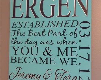 "You and Me Became We 12x12"" Wedding Date Sign"
