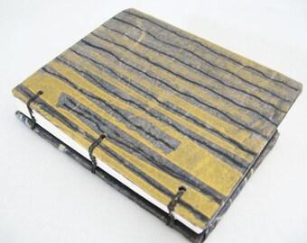 Little Gold Journal, small notebook, pocket size book, mod design, coptic stitch book, little black book