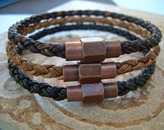 Mens Leather Bracelets Mens Bracelet Copper Toned Brass Magnetic Clasp Leather Bracelet Mens Jewelry Mens Gift Groomsmen Gift Boyfriend Gift