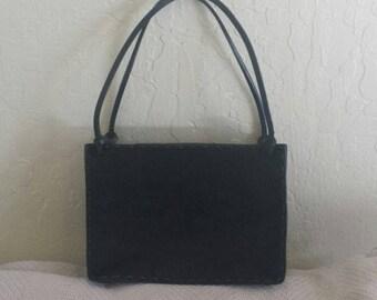 Black pony hair & leather hand bag purse