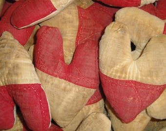 Vintage Red Quilt Heart | Old Red Quilt Heart | Primitive Small Red Heart | Antique Red Quilt Heart | Listing is for 1 Heart