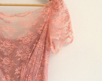 peachy pink lace dress