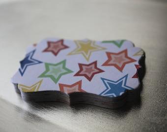Primary Stars Decorative Die Cut Tag Sticker Set of 10