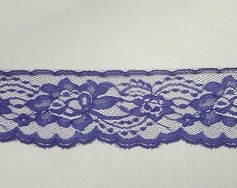 """Purple Non Stretch Soft scalloped Lace Trim 2 .5"""" L 7-6"""