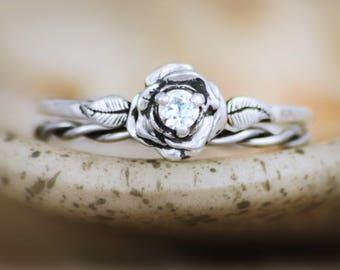 White Sapphire Rose Engagement Ring Set & Twist Ring - Sterling Silver Rose Bridal Set - Stacking Wedding Ring Set - Nature-Inspired Ring