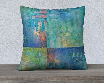 Blue Abstract Watercolor Square Pillow Case 22x22